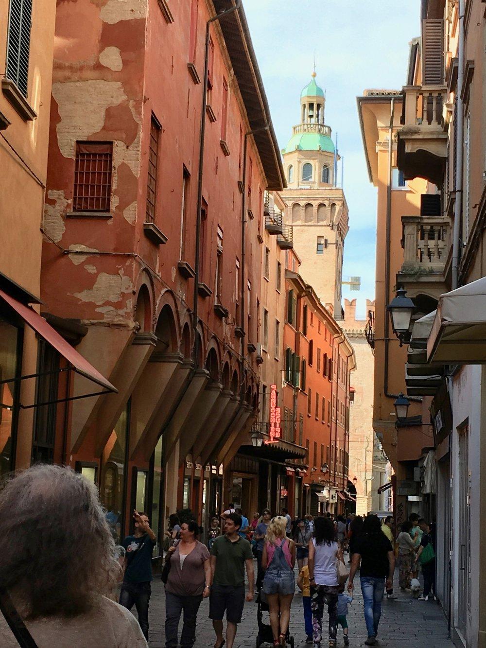 Bustling Bologna street