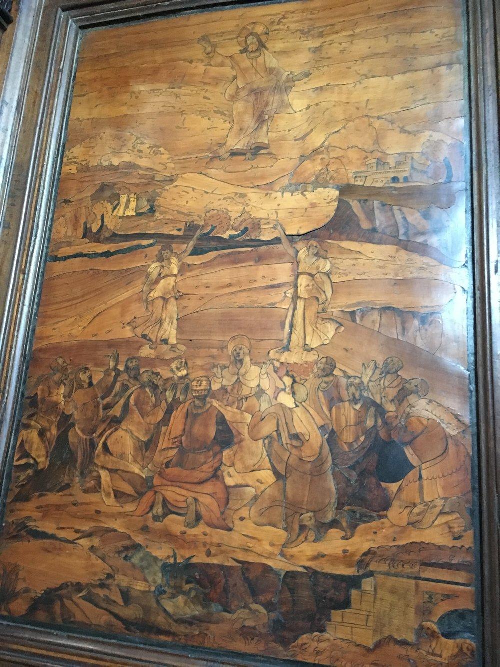 Detail of choir stall at Basilica San Domenico