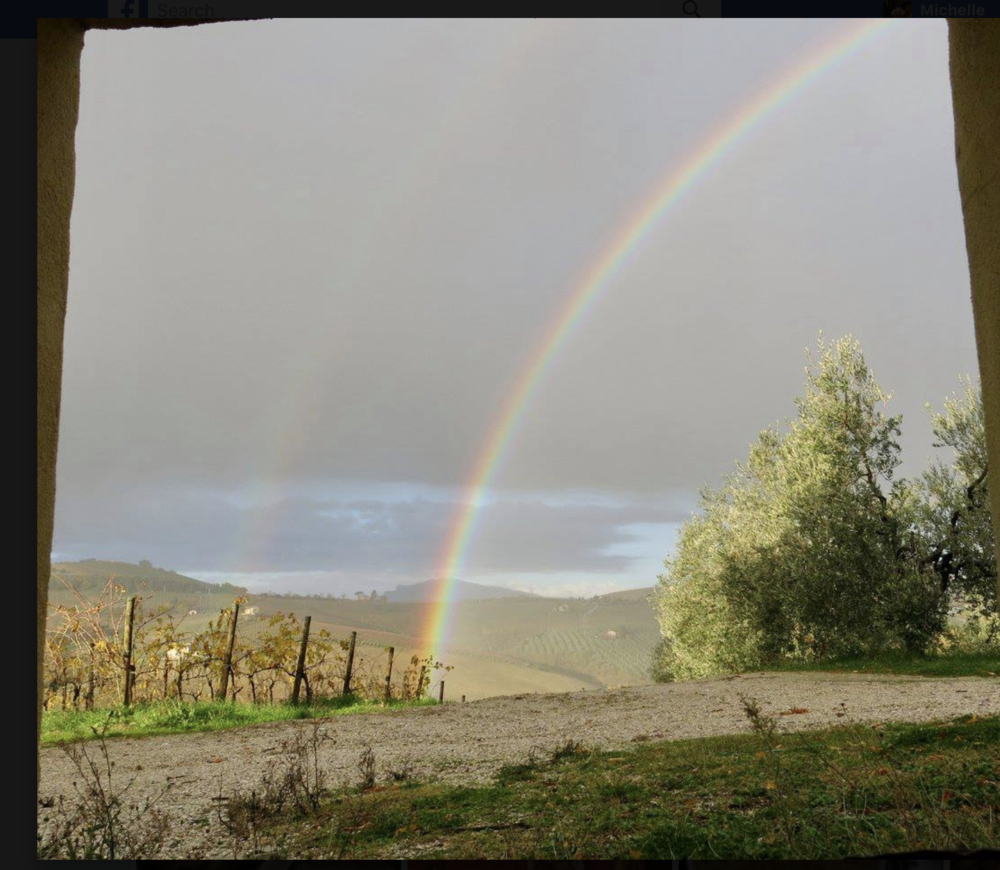Rainbow over southern marche district of Italy, neighboring Umbria