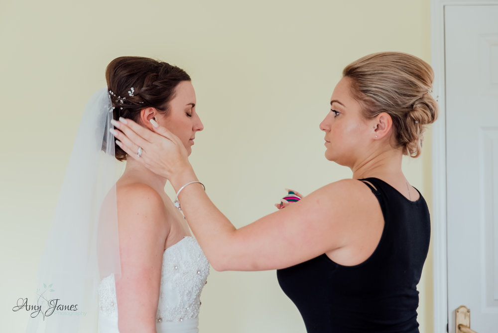 Amy James photography - Bride getting ready - Taplins Place Wedding - wedding photographer Hampshire