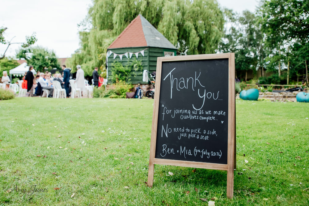 Outdoor garden wedding ceremony - Amy James photography - Taplins Place Wedding - Wedding photographer Hampshire