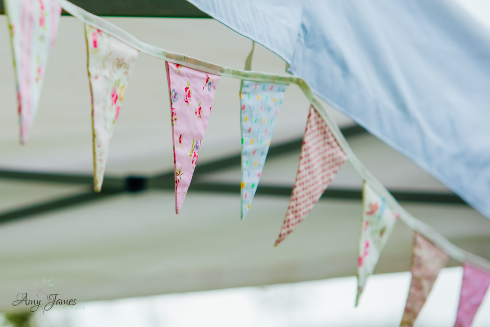 Wedding bunting - outdoor wedding ceremony - Amy James Photography