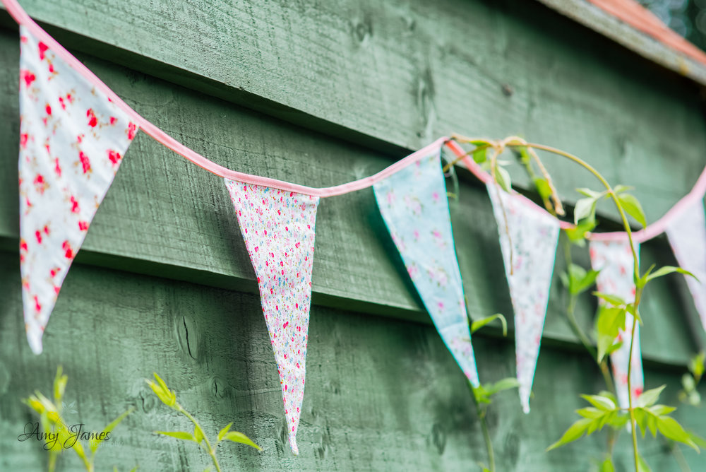 Wedding bunting at outside wedding venue Taplins Place Hampshire by Amy James Photography Wedding Photographer Hampshire