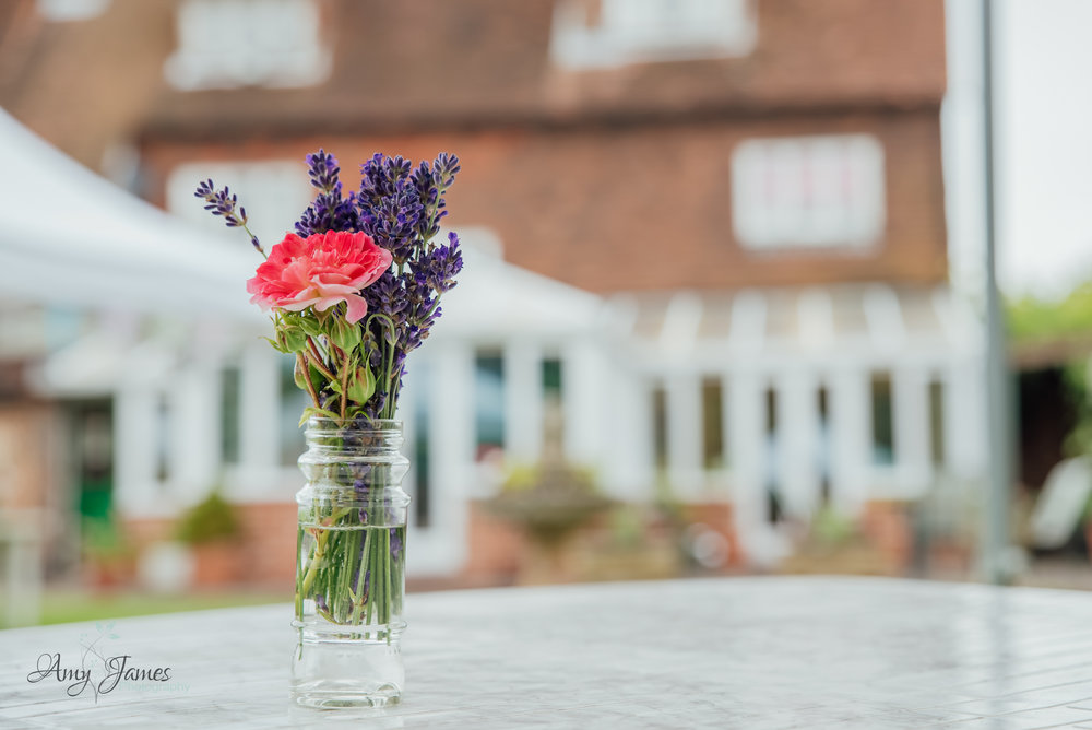 Flower out outside wedding venue Taplins Place Hampshire by Amy James Photography