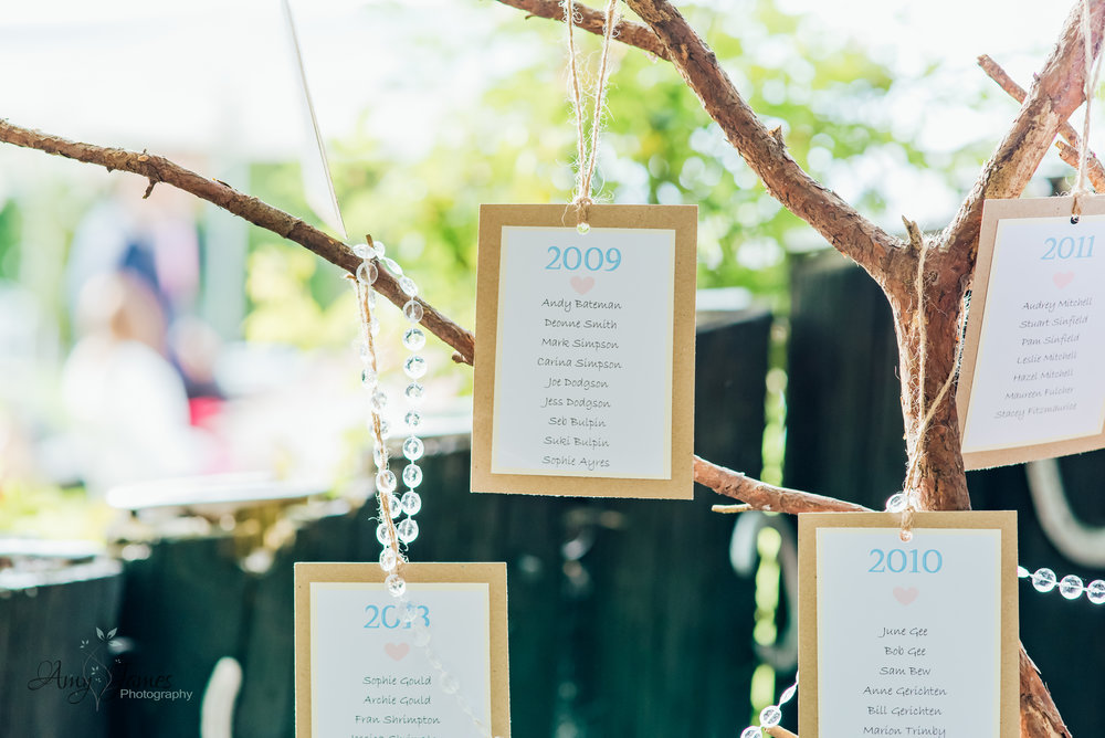 DIY wedding seating plan for outdoor wedding venue Hampshire Taplins Place Hampshire by Amy James Photography Hampshire wedding photographer