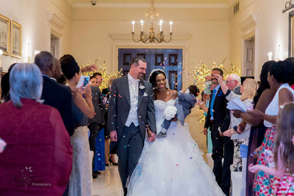 Confetti photograph at Four Seasons Hotel Wedding Venue Hampshire by Amy James Photography documentary wedding photographer for Hampshire and Surrey