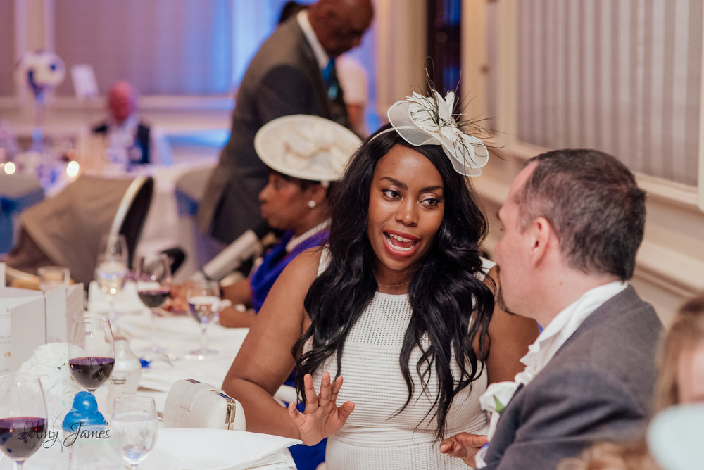 Wedding breakfast th The Four Seasons Hotel Hampshire by Amy James photography - documentary wedding photographer fr Hampshire and Surrey