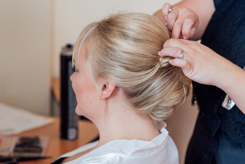 Bride getting ready at The Elvetham Wedding Venue Hampshire by Hampshire wedding photographer Amy James Photography