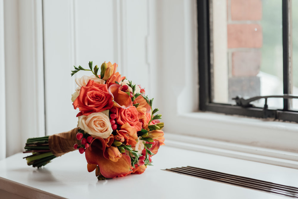 Autumnal Bridal bouquet at The Elvetham Wedding venue by Hampshire wedding photographer Amy James Photography