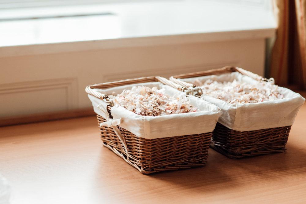 Confetti baskets at the Elvetham Wedding venue Hampshire by Hampshire Wedding Photographer Amy James Photography