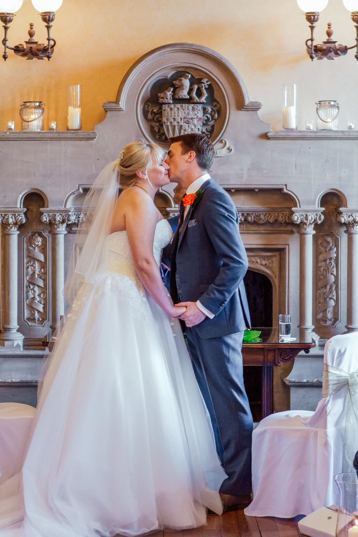First Kiss. Amy James Photography - Hampshire wedding photographer