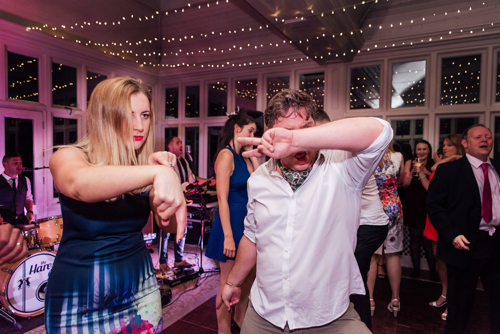 Wedding dancing a The Elvetham - wedding band - documentary wedding photographer Hampshire