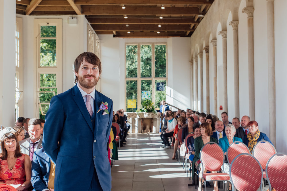 Groom awaiting the arrival of the Bride - Highcliffe Castle Dorset - Wedding Photographer Hampshire Dorset and Surrey - Amy James Photography