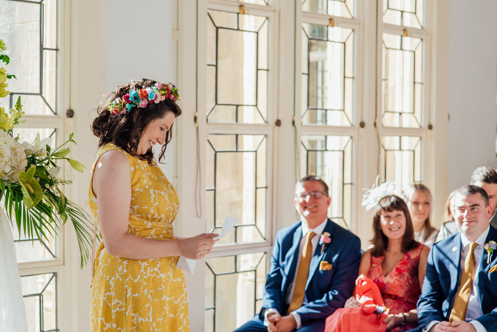 Bridesmaid giving a reading at Highcliffe Castle wedding - Amy James photography - Documentary wedding Photographer for Hampshire Dorset and Surrey