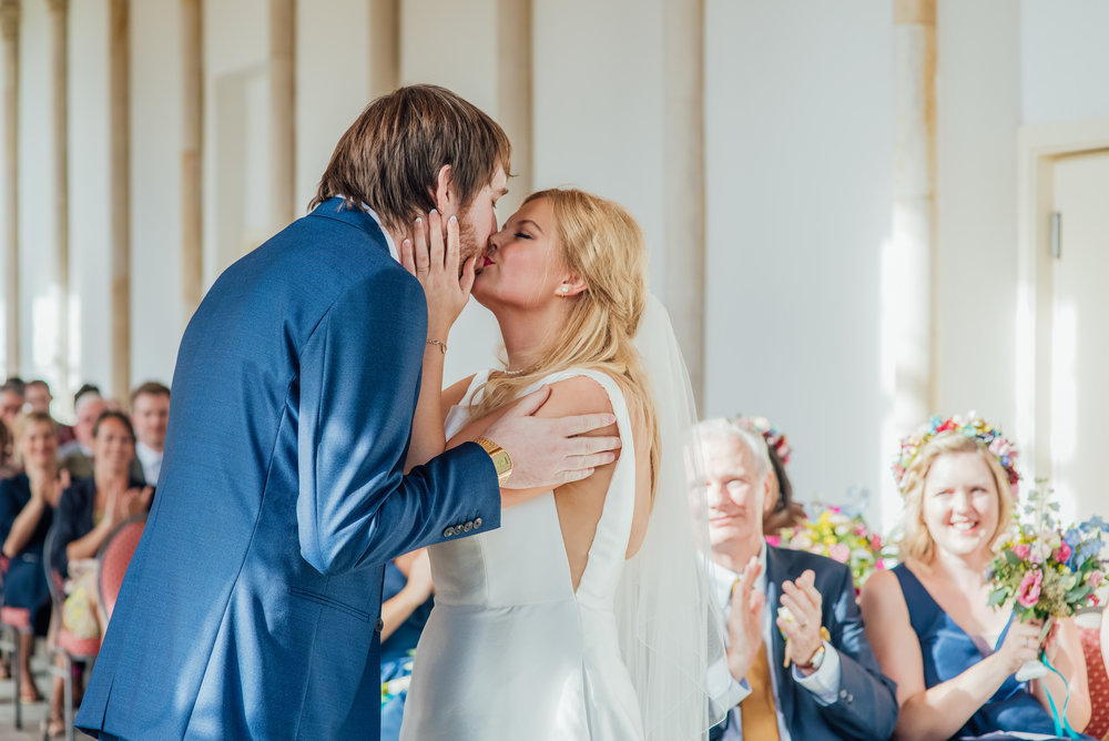 Bride and Groom forst kiss at Highcliffe Castle Wedding Dorset - Amy James photography - Hampshire Dorset and Surrey wedding photographer