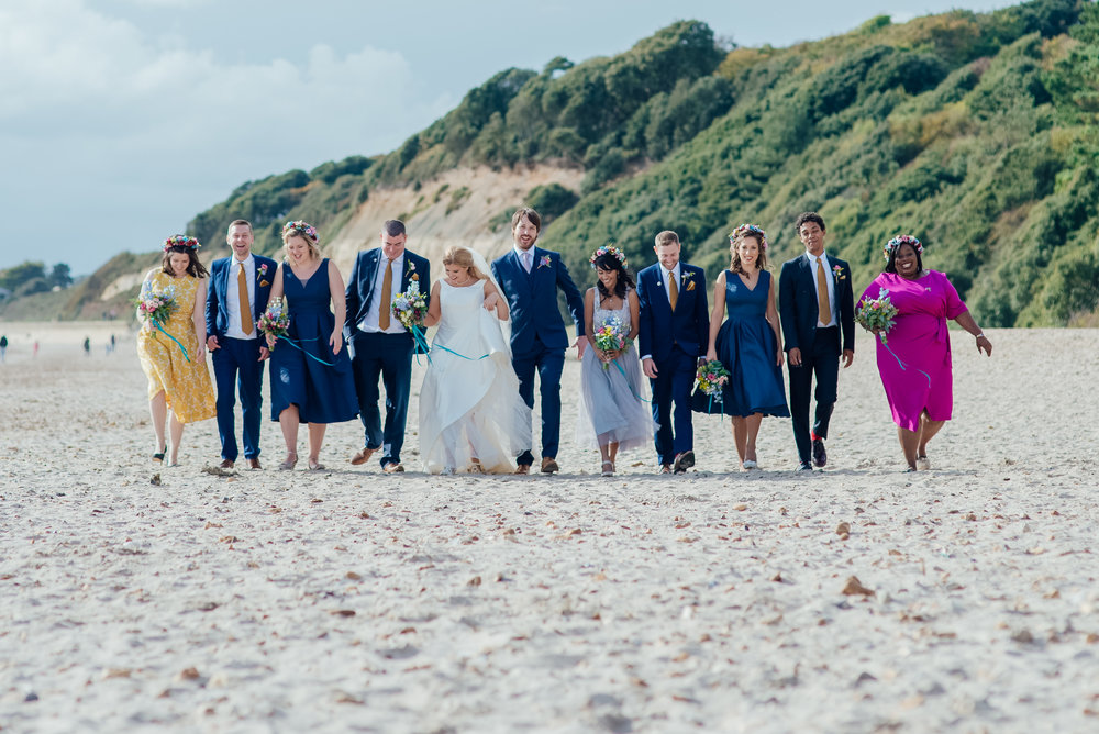 Bride and Groom on Highcliffe Beach - Highcliffe Castle Wedding - Amy James Photography - Hampshire and Dorset wedding photographer