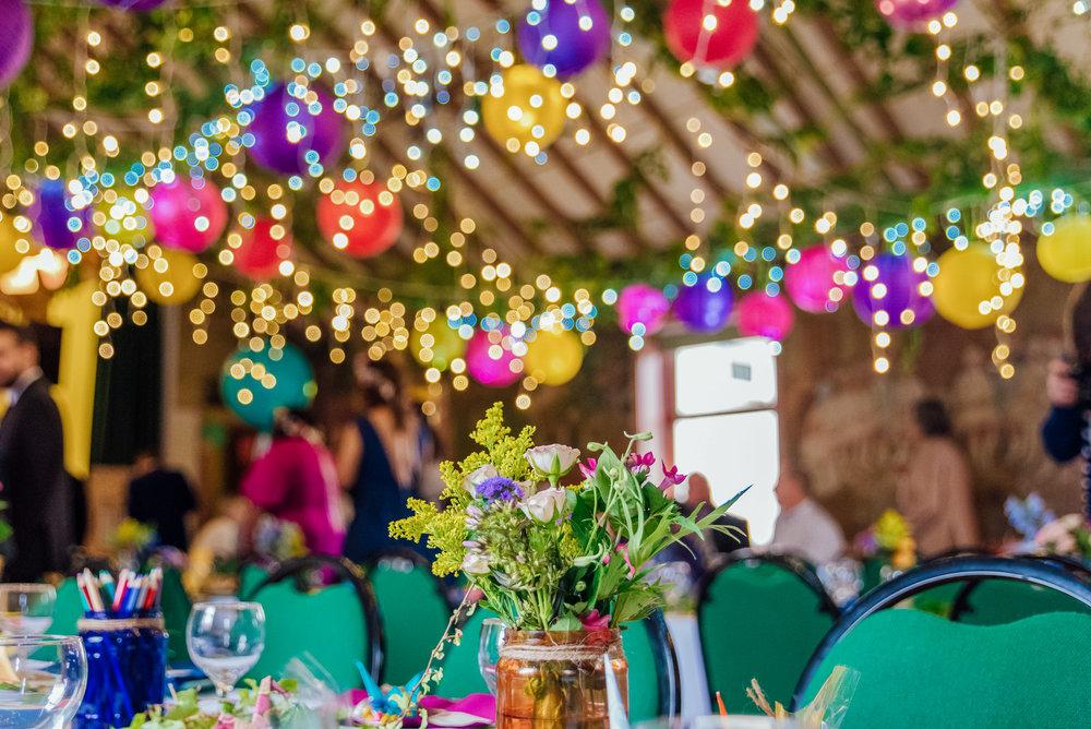 DIY wedding decorations - Bright paper lanterns - Village Hall wedding decorations - New Forest Village Hall Wedding