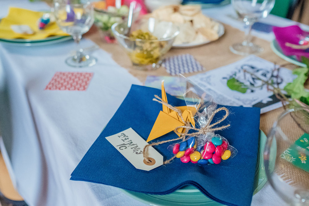 Colourful DIY wedding favours - Colourful wedding decorations - New Forest Village Hall wedding