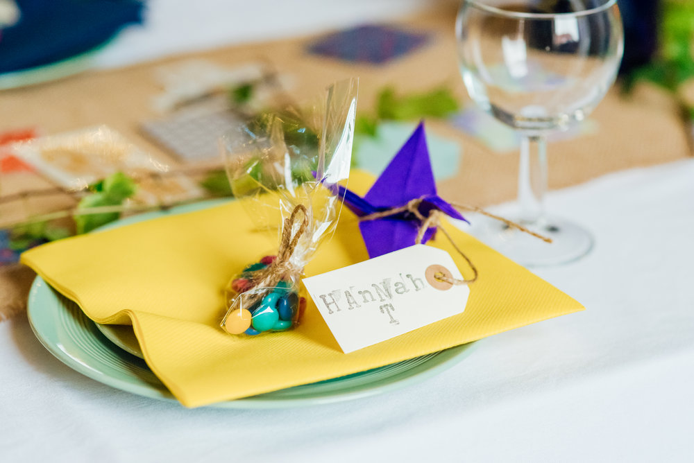 Colourful DIY wedding favours - DIY wedding decorations at New Forest Village Hall Wedding - Amy James Photography