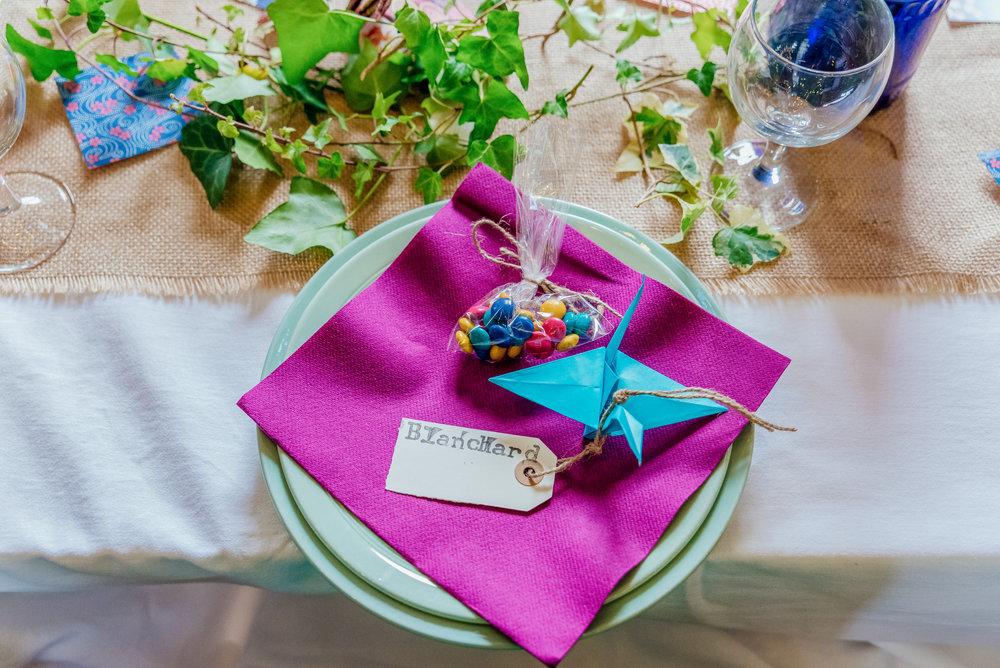 Colourful DIY wedding decorations - DIY wedding favours - New Forest Village Hall Wedding