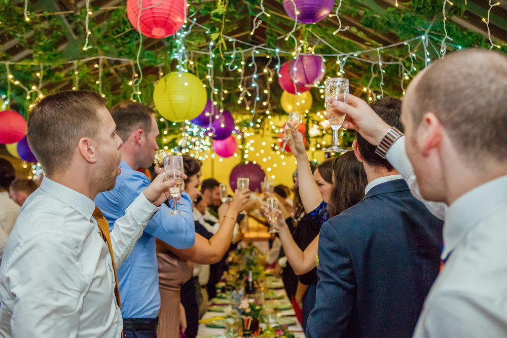 Speeches at colourful DIY New Forest Wedding - Colourful wedding decorations - Amy James Photography - Documentary Wedding photographer Hampshire