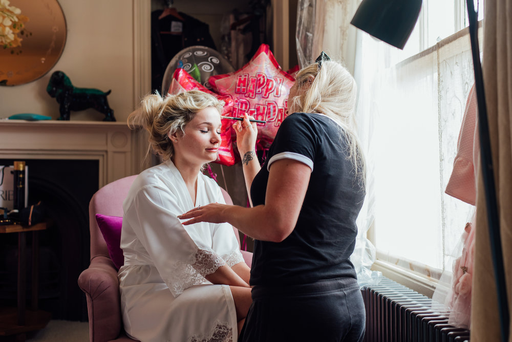 Bride getting ready at The George In Rye Wedding Venue - Amy James Photography Documentary Wedding Photographer Hampshire