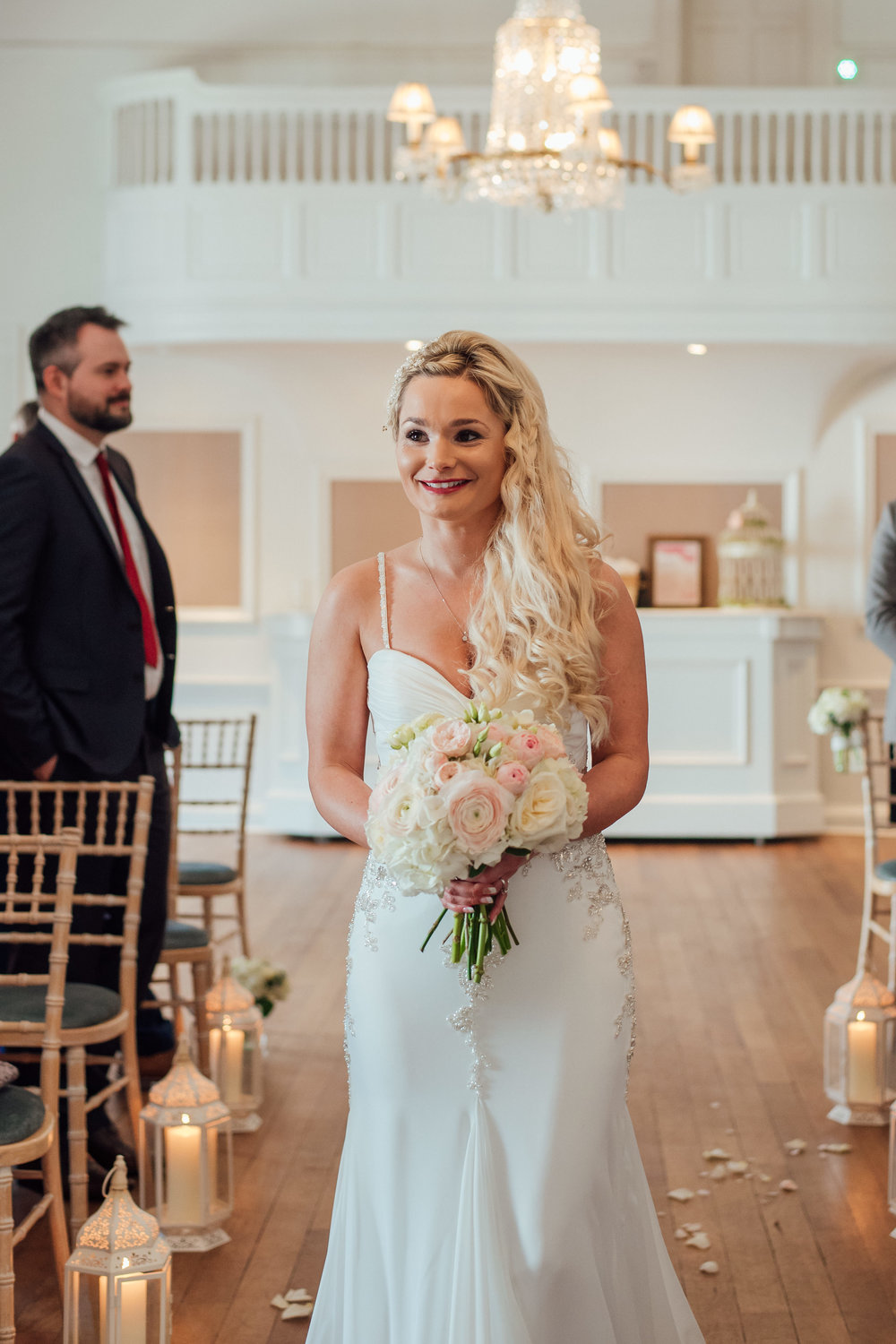 Bride walking down the aisle at The George In Rye East Sussex Wedding Venue - Amy James Photography documentary wedding photography in Hampshire Surrey and Dorset