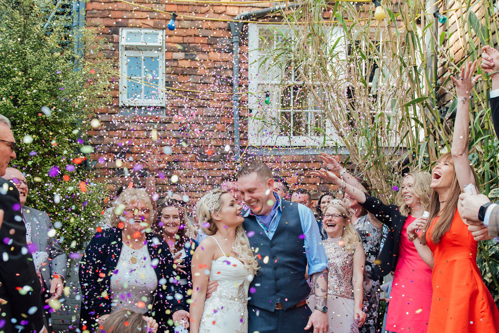 AMY JAMES PHOTOGRAPHY - Documentary Wedding Photographer Hampshire Surrey and Dorset - The George in Rye Wedding Venue - Sussex Wedding - colourful confetti