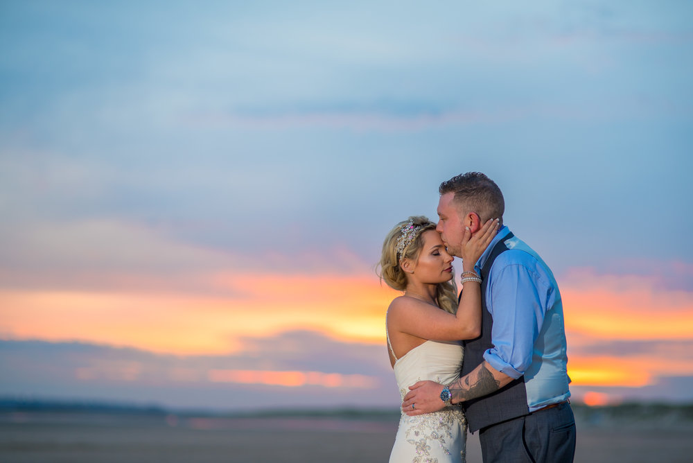 AMY JAMES PHOTOGRAPHY - Documentary Wedding Photographer Hampshire Surrey and Dorset - The George in Rye Wedding Venue - Sussex Wedding - Bride and Groom on the beach at sunset - camber sands sunset -