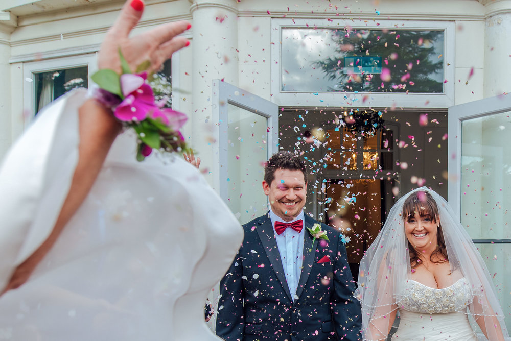 Confetti photo at Heatherden Hall Pinewood Studios - Amy James Photography - Wedding photographer Hampshire Surrey and Berkshire