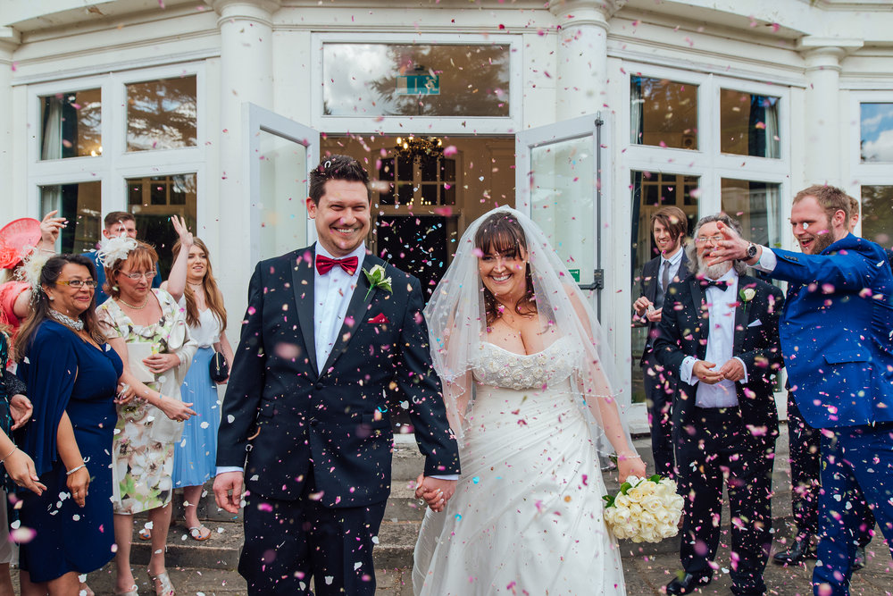 confetti at Heatherden Hall Wedding by Amy James photography - Wedding photographer Hampshire Surrey and Berkshire
