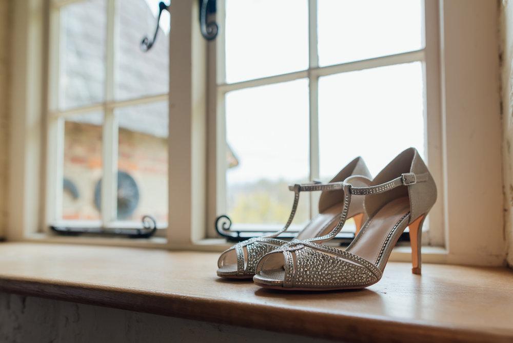 Wedding shoe inspiration at Bury Court Barn Wedding Venue Hampshire by Amy James photography Wedding-photographer-hampshire Fleet-wedding-photographer