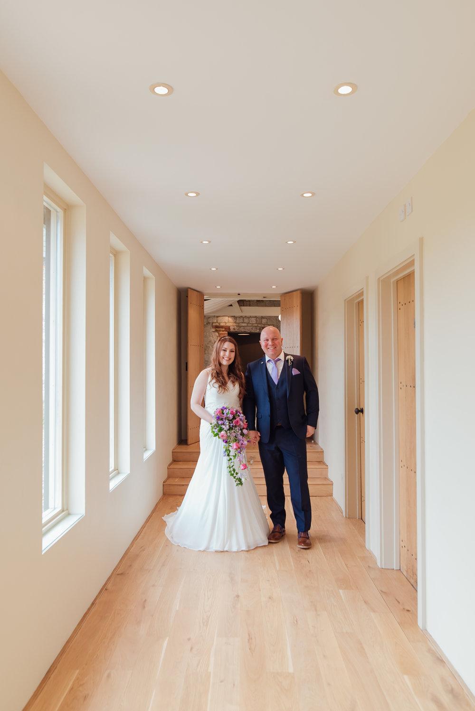 Bride and her father - bury-court-barn-wedding-venue Amy James photography wedding-photographer-hampshire wedding-photographer-fleet-hampshire documentary-wedding-photographer