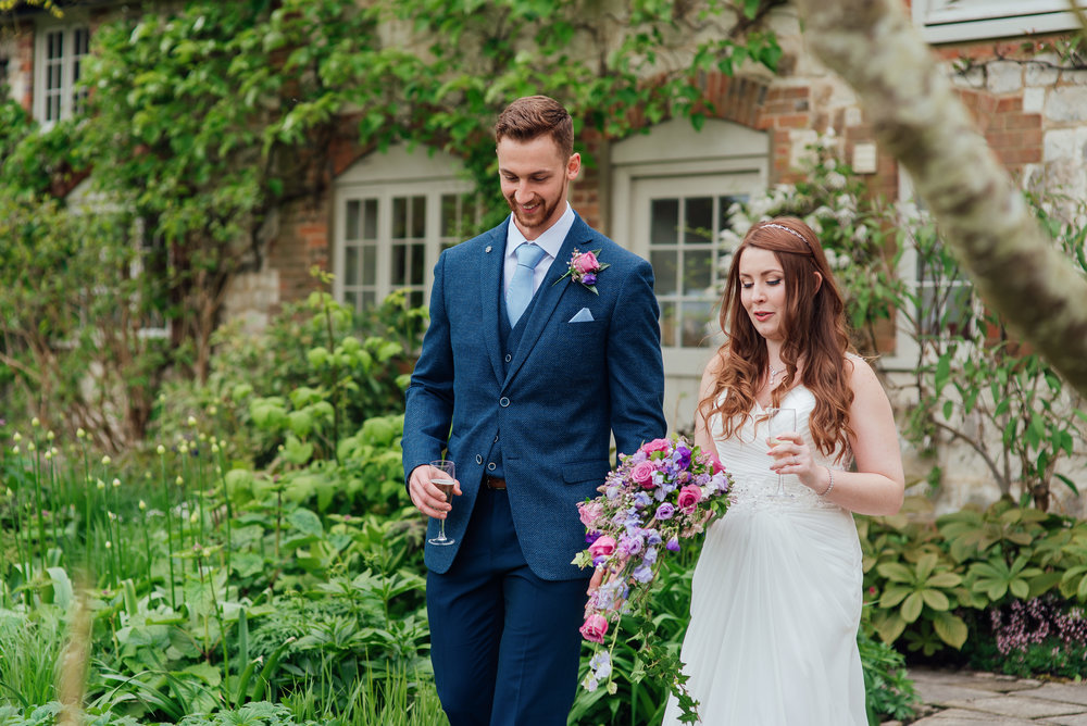 Bride and groom in the walled garden at Bury Court Barn wedding venue Hampshire - Amy James photography - wedding-photographer-fleet-hampshire - documentary-wedding-photographer