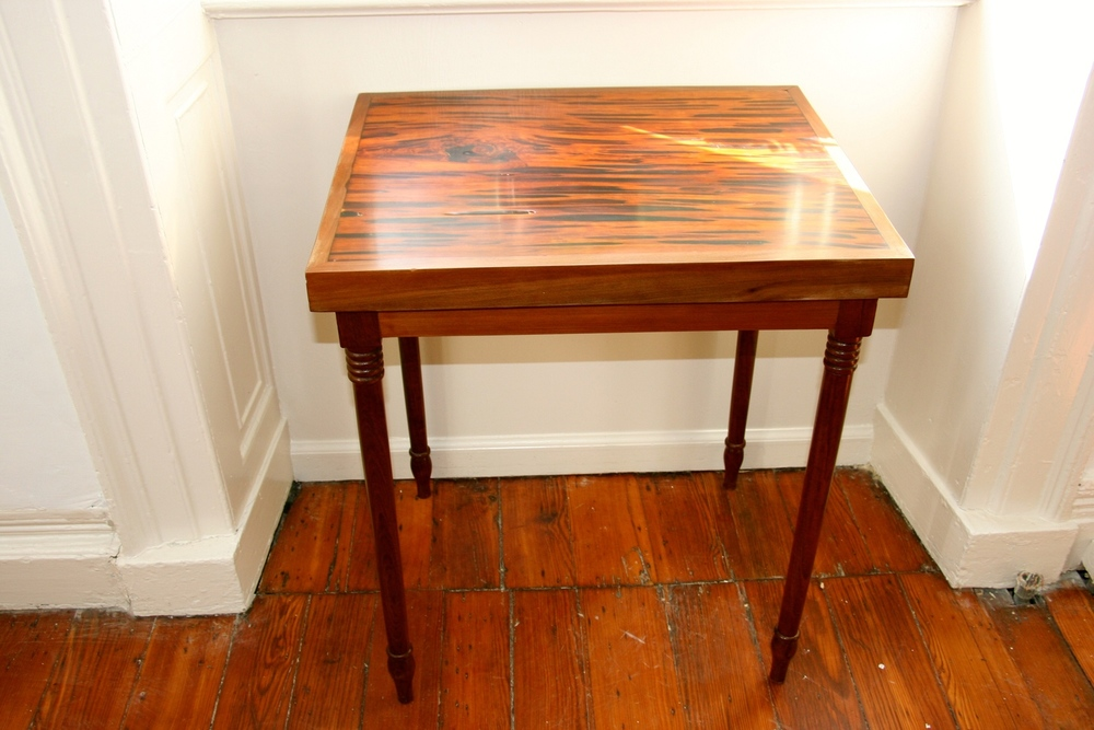 Pecky Cypress And Black Walnut Side Table