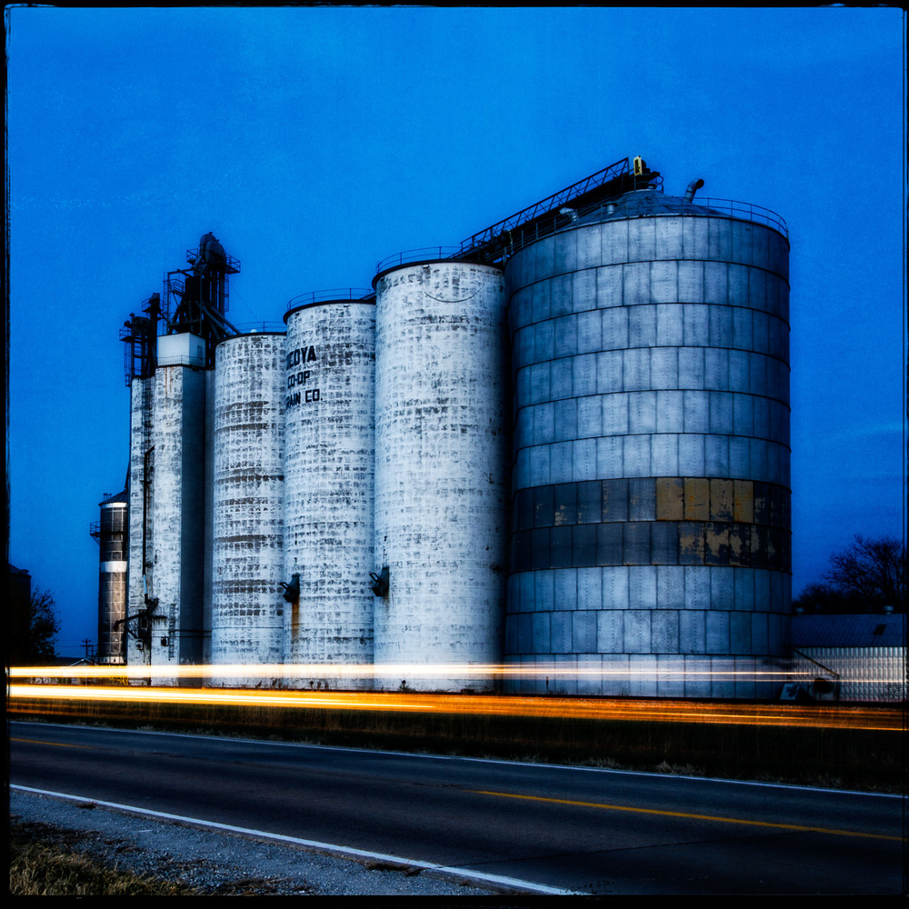Old Grain Elevators at Dusk