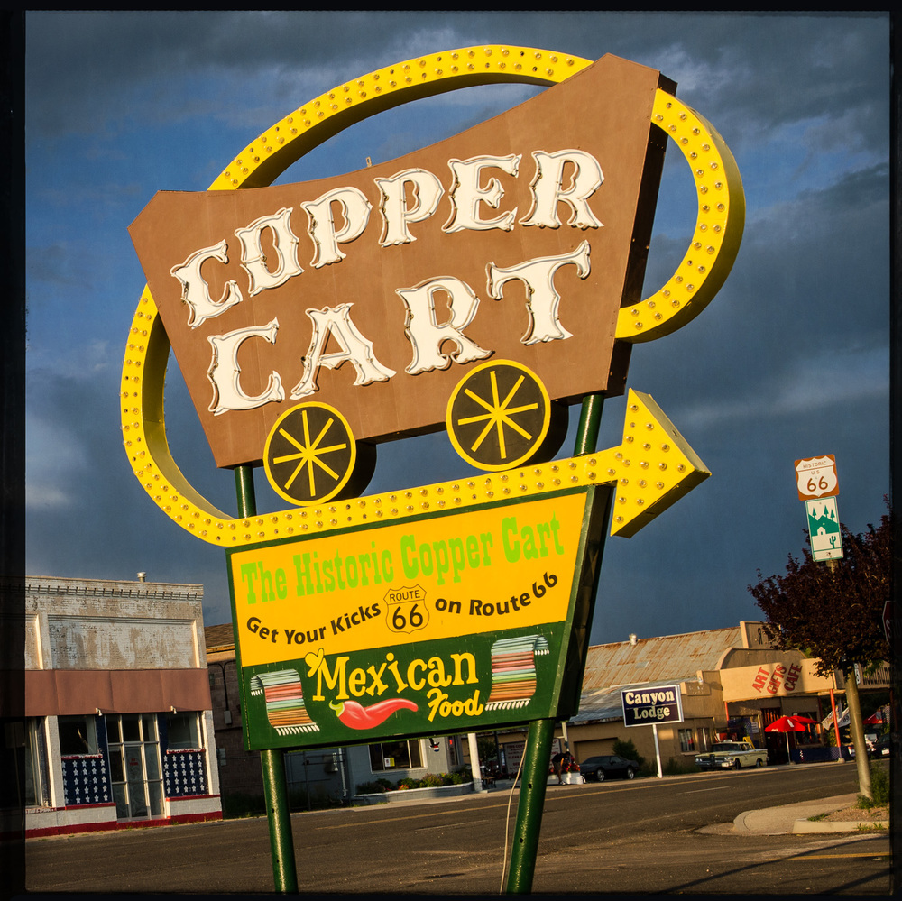 The Copper Cart - 8x8 Wood Panel Collage Print — Pics On Route 66