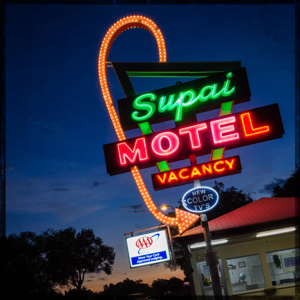 Seligman AZSupai Motel - A vintage motel with a well taken care of classic neon sign.  The rooms are basic but clean and comfortable. Lay your head down at night and wake up in the morning to the Route 66 wonders of Seligman Arizona.-David Schwartz22450 Old Highway 66(928) 422-4153Website