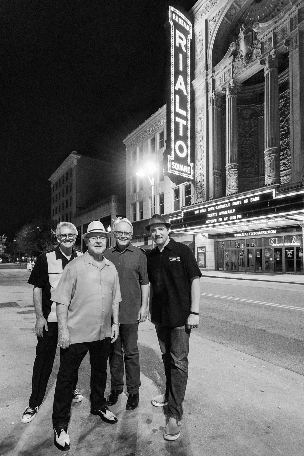 Taking advantage of the street light to create an after show portrait of these fine friends in front of the Rialto.
