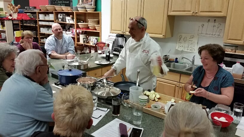 Cooking class with Michael Ballon and Julie Gale.