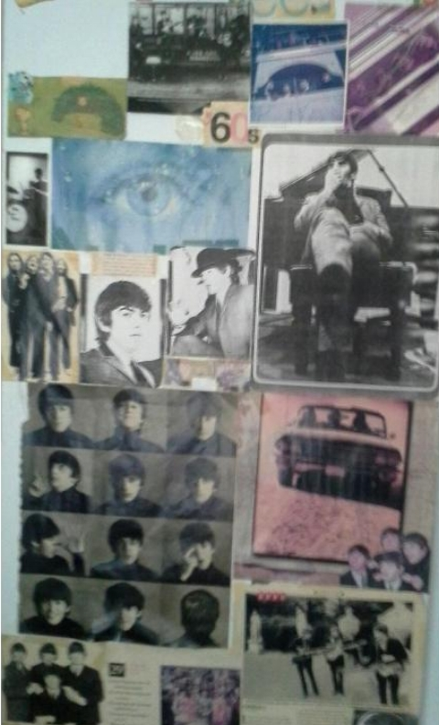 Part of my closet door Beatles collage from my old bedroom.