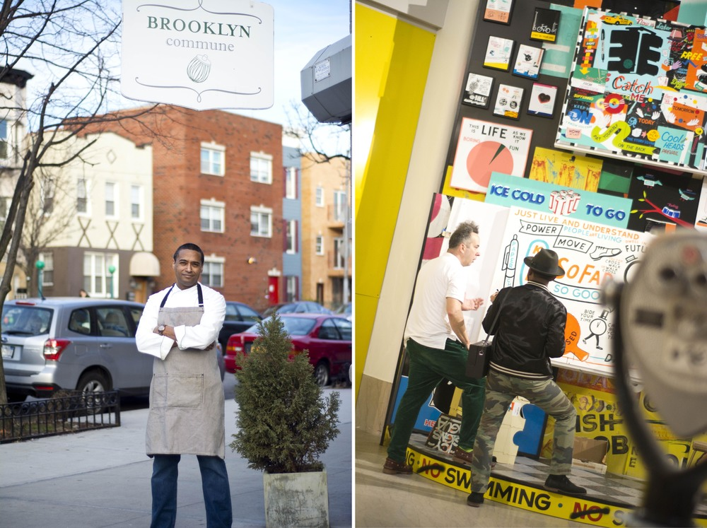 "(Left) Chef Chris Scott outside Brooklyn Commune. (Right) Stephen ""Espo"" Powers and I at The Brooklyn Museum."