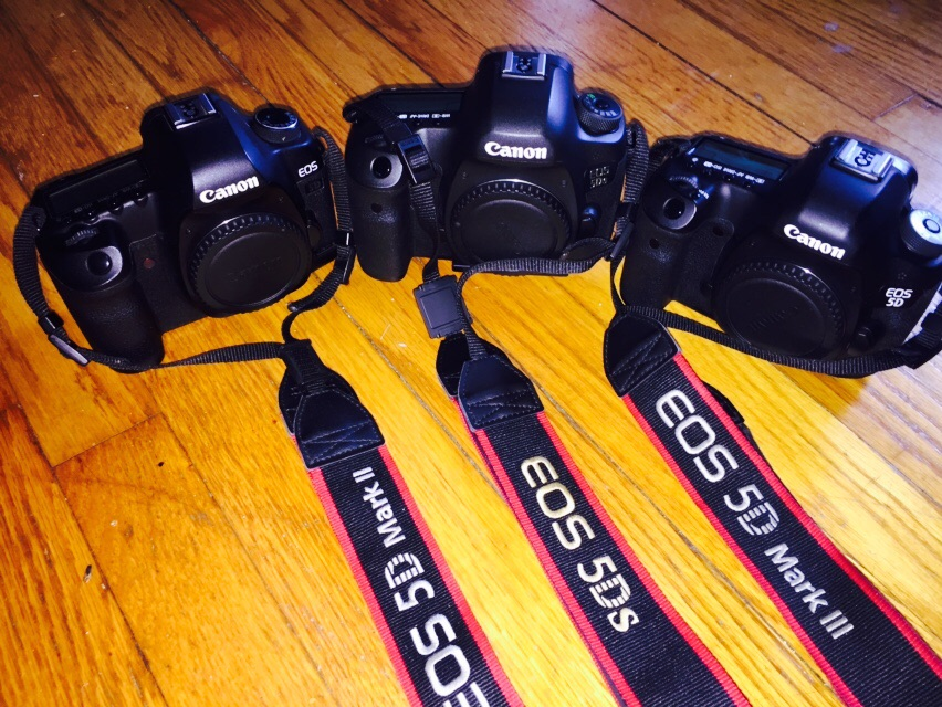 """The three """"Fives"""" including the new 50.6 megapixel Canon 5Ds. Various lenses from 12mm to 280mm focal length, to be covered later."""