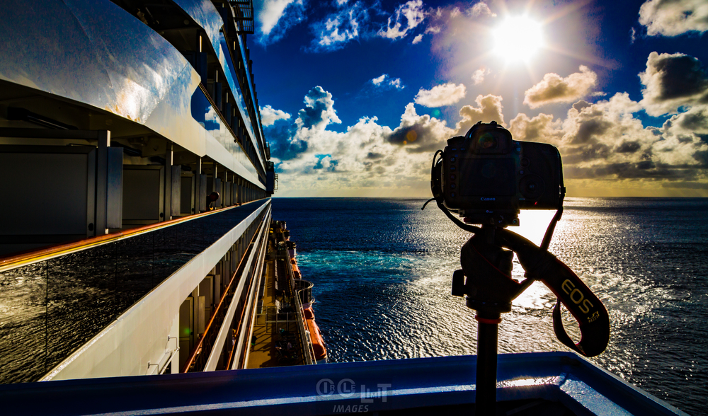 My 50 megapixel Canon 5Ds ready to do some long exposures on top of Carnival Breeze's Bridge.  I have a remote control to trigger the shutter.