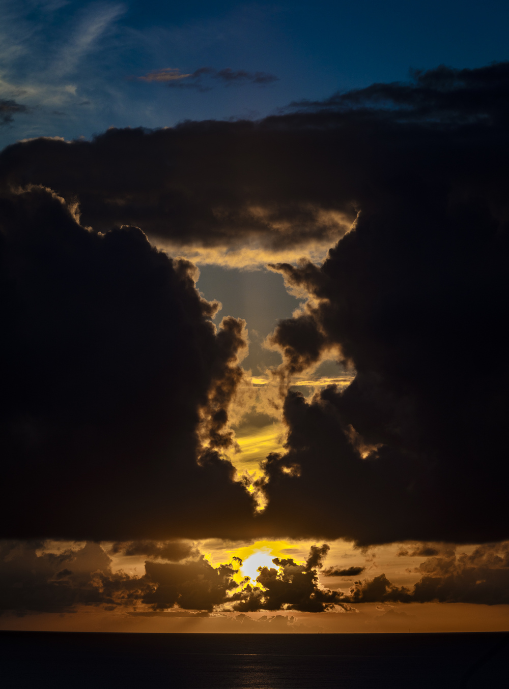 Sunset outside Cozumel.