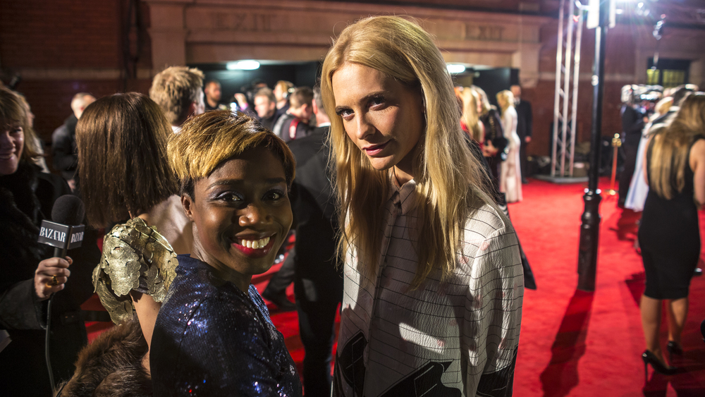 Charlene Campbell and Poppy Delevigne on the red carpet at The British Fashion Awards