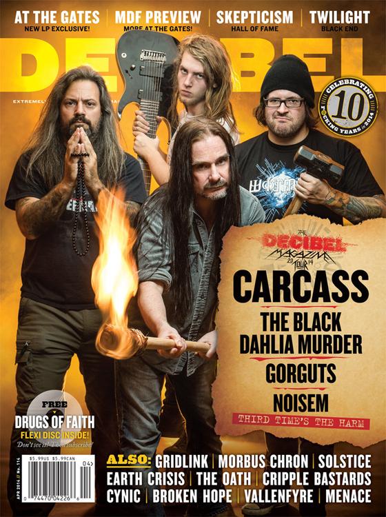 Decibel April 2014 with Carcass The Black Dahlia Murder Gorguts Noisem