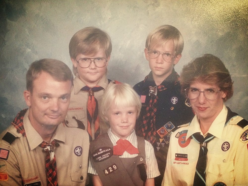 Farnell Family Scouts, 1995: Fred, Matthew, Ariane, Patrick and Sharon.