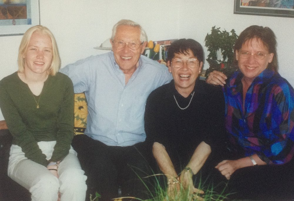 Visiting the host parents in 2001, 29 years later. L to R: Ariane Farnell, Sharon's daughter, Doctor Eggert, Mrs. Eggert, Sharon Holcomb.