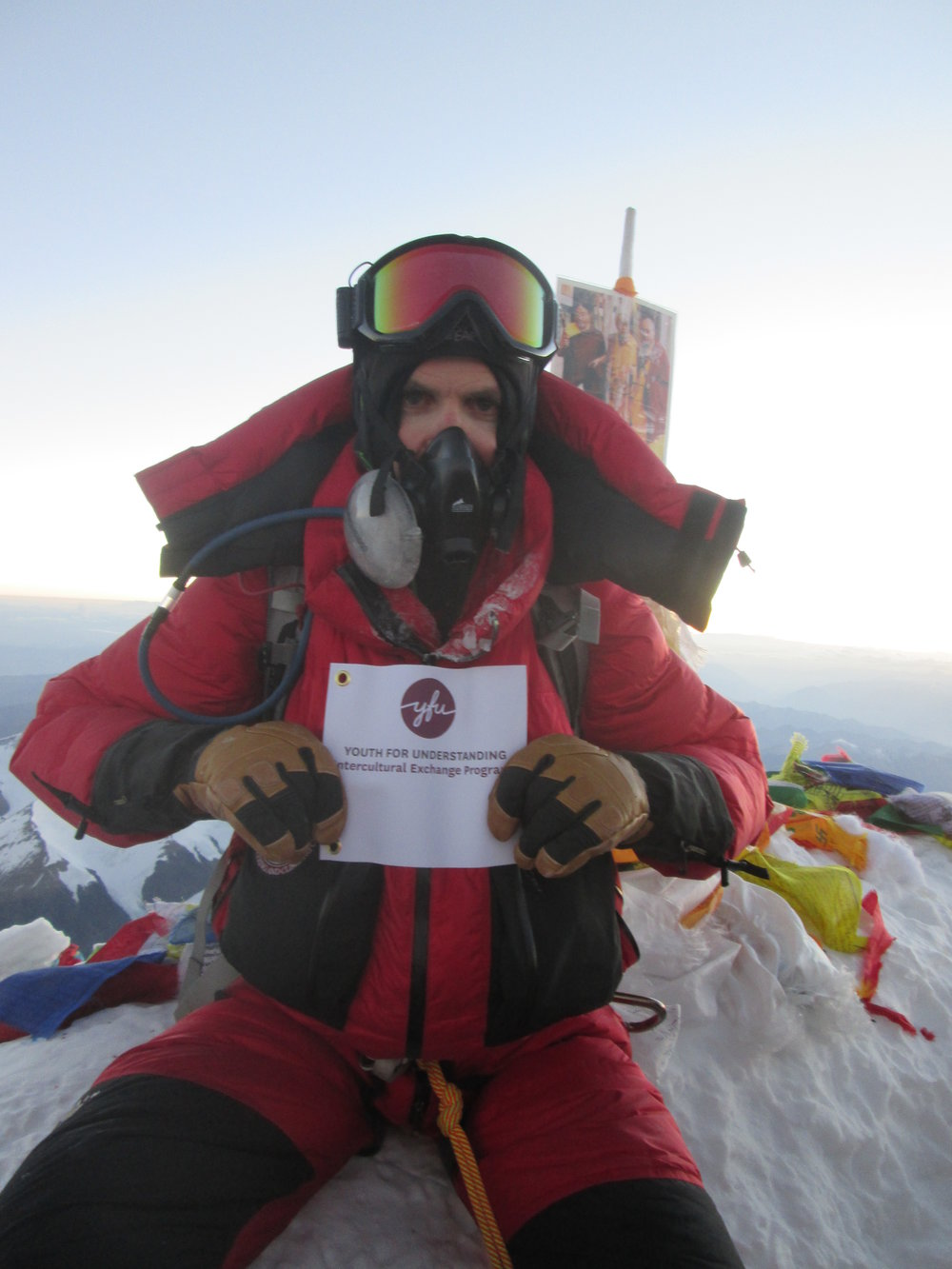 Andrew Towne, 2017 Distinguished Alumni honoree, summits Mt. Everest while raising awareness about intercultural exchange and raising money for the YFU Scholarship Fund.